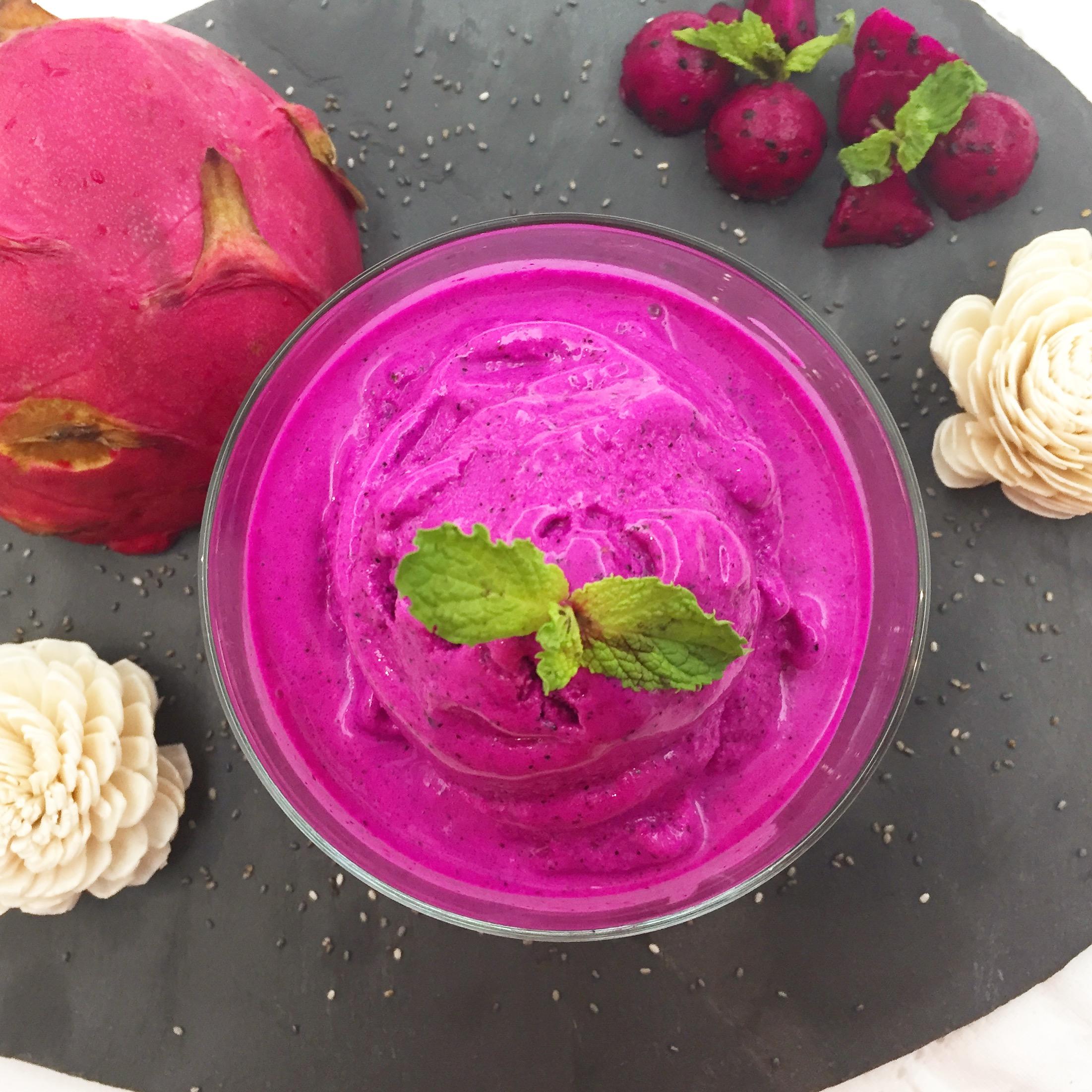 Gelado de Pitaya e Hortelã - Receita Vegan - Blog da Spice